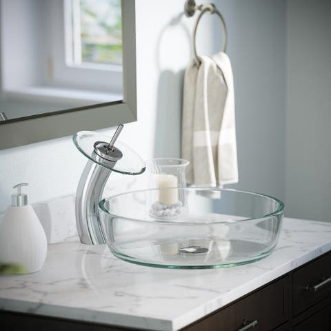 625 Clear Glass Sink, Chrome Faucet, Pop-up Drain
