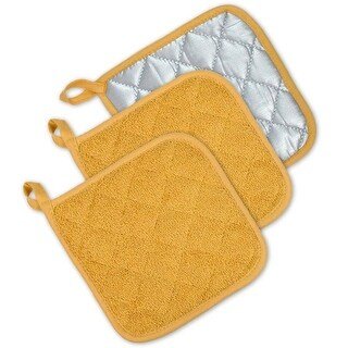 """Set of 3 Yellow and Silver Colored Terry Cloth Square Potholders 7"""""""