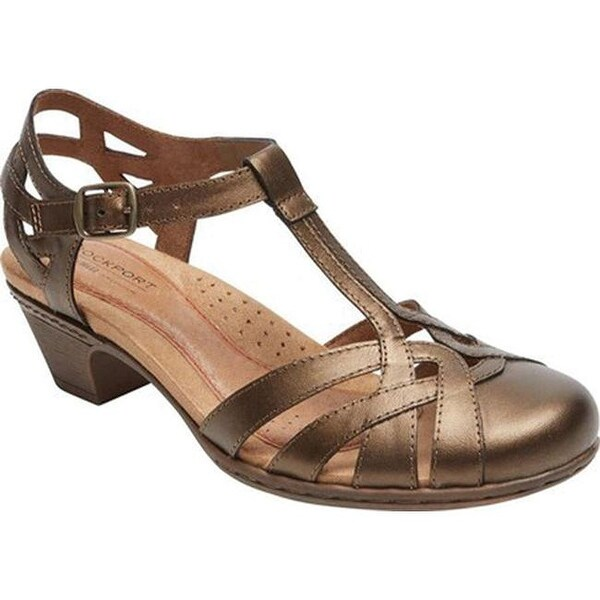 34b30102c0b Shop Rockport Women s Cobb Hill Aubrey T Strap Sandal Bronze Leather ...