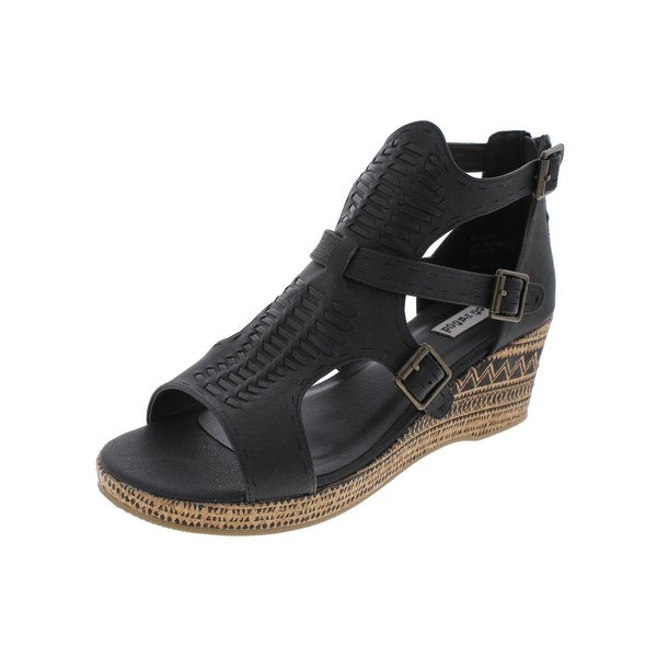 Not Rated Womens Two On Two Wedge Sandals Pattern Strappy - 6 medium (b,m)