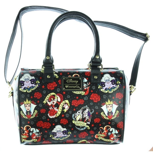 b3fd0af37bb Loungefly Disney Villains Roses Tattoo All Over Print Faux Leather Bag - M