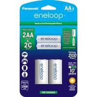 PANASONIC K-KJS2MCA2BA eneloop(R) 2 AA Batteries & 2 Spacers Kit (C Size)