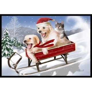 Carolines Treasures PTW2015MAT Dogs And Kitten In Sled Need For Speed Indoor & Outdoor Mat 18 x 27 in.