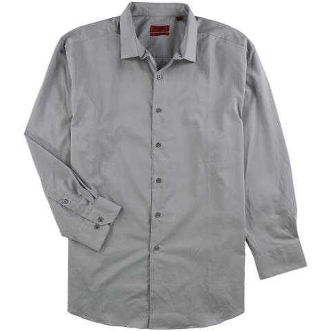 """Alfani Mens Fitted Performance Button Up Dress Shirt, Grey, 17"""" Neck 32""""-33"""" Sleeve"""