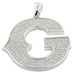 10K White Gold Initial G Charm Pendant for Men 2cttw Diamonds 58mm(i2/i3, I/j)