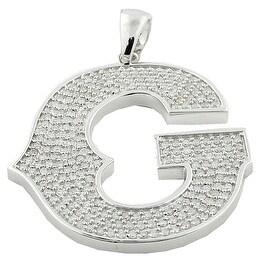 10K White Gold Initial G Charm Pendant for Men 2cttw Diamonds 58mm(i2/i3, I/j) By MidwestJewellery