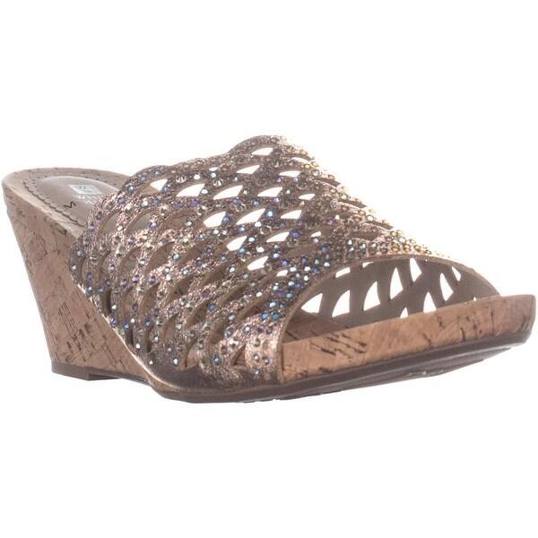 Shop White Mountain Amal Wedge Slide Sandals Rose Gold