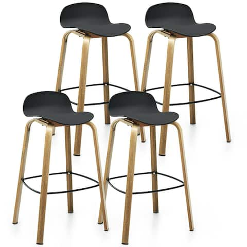 Gymax Modern Set of 4 Barstools 30inch Pub Chairs w/Low Back & Metal