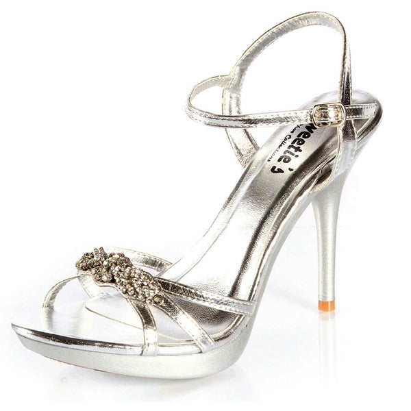 3625dc5e249 Shop Sweetie s Shoes Silver Strappy Metallic Bonnie Rhinestone Sandal - Free  Shipping Today - Overstock.com - 25600075