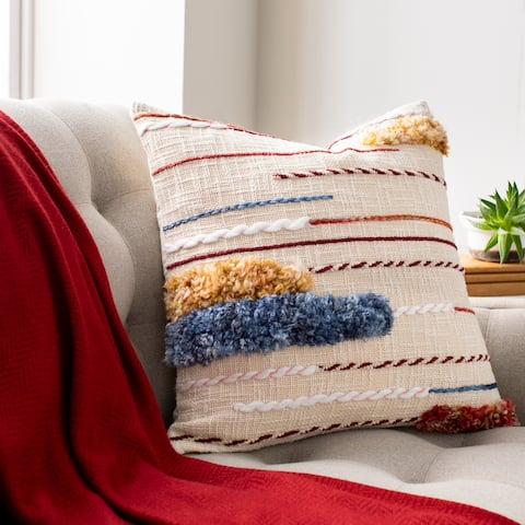 Zuniga Boho Embroidered Textured Throw Pillow