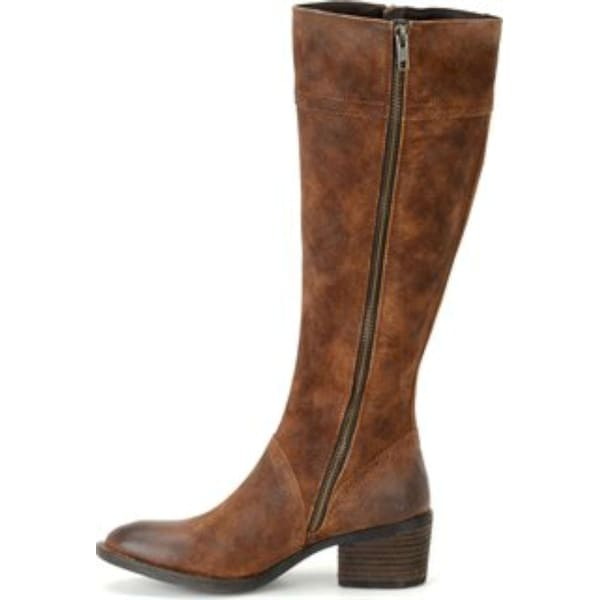 Born Womens POLY Leather Almond Toe Knee High, TOBACCO DISTRESSED, Size 6.0