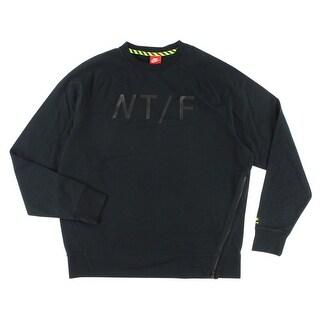 Nike Mens Track and Field Asymmetrical Crewneck Sweatshirt Black