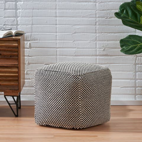 Andriana Boho Fabric Cube Pouf by Christopher Knight Home