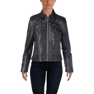 Polo Ralph Lauren Womens Buffalo Leather Lined Motorcycle Jacket - 2