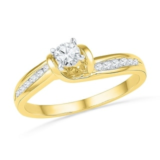 14k Yellow Gold Womens Natural Round Diamond Bridal Wedding Engagement Anniversary Ring 1/3 Cttw - White