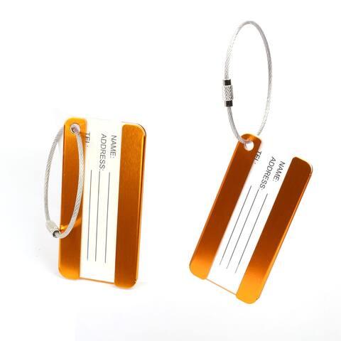 Aluminium Metal Travel Luggage Tags Card Holder 2pcs