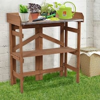 Costway Metal Top Wooden Potting Bench Garden Planting Workstation Shelves