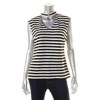 Calvin Klein Womens Blouse Striped Chocker - m