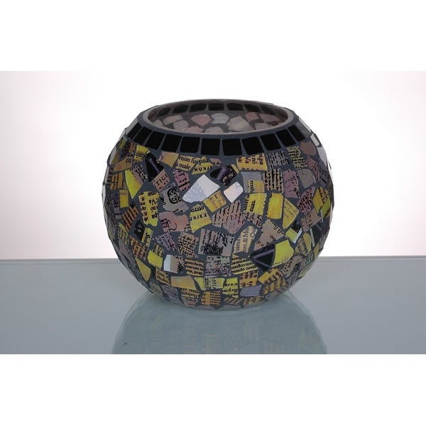 """6.5"""" Round Multicolored Mosaic Glass Small Pillar Candle Holder - N/A"""