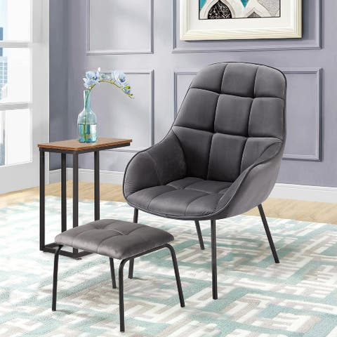 VECELO Company Chenille Reclining Glider with Ottoman Chair(Green and Grey 2 Options) - 31.1*28.3*39.4