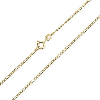 Bling Jewelry Gold Plated 925 Silver Unisex Figaro Chain 40 Gauge Italy