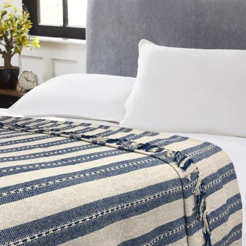 Marlo Stripe Blue/Beige Cotton Blanket