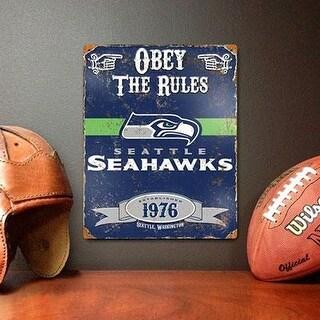 Party Animal Nfl Embossed Metal Vintage Seattle Seahawks Sign