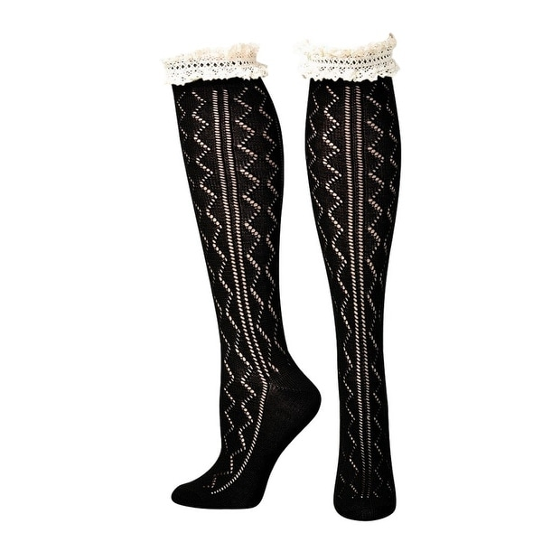 Blazin Roxx Socks Womens Fashion Knee High Ruffle Black Cream