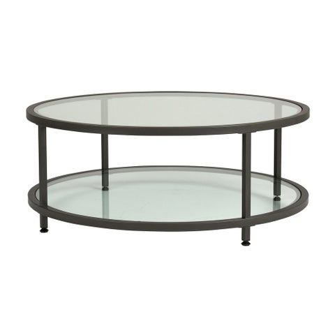 Offex Camber Round Coffee Table - Pewter/Clear Glass