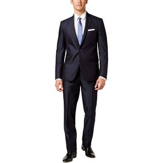 Kenneth Cole Reaction Mens Two-Button Suit Wool Peak Lapel