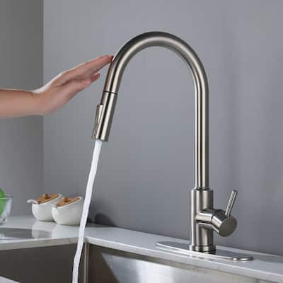 Touch Kitchen Faucet with Pull Down Sprayer Stainless Steel - spout Height:16.49 inches
