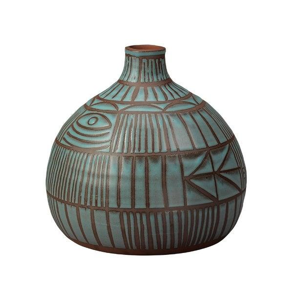 """11.50"""" Blue Ceramic Ritual Vase - N/A"""