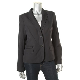 Calvin Klein Womens Pinstripe Long Sleeves Two-Button Blazer - 12