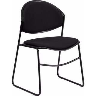 Offex 550 lb Capacity Black Padded Stack Chair with Black Powder Coated Frame Finish [OF-RUT-CA02-01-BK-PAD-GG]