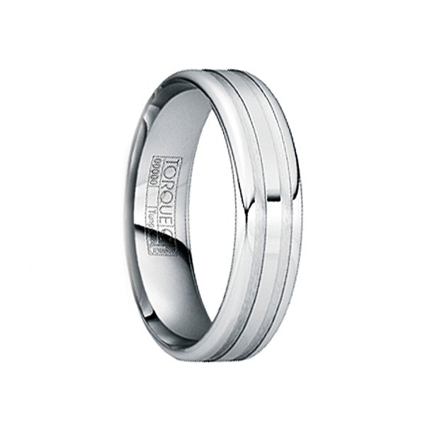 IOVITA Tungsten Comfort Fit Band with Polished & Brushed Matte Grooves by Crown Ring - 6mm