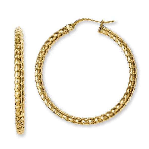 Chisel Stainless Steel Yellow IP-plated Textured Hollow Hoop Earrings