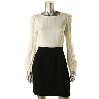 Zara Womens Colorblock Long Sleeves Wear to Work Dress - S
