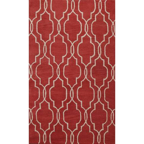 """Red Trellis Geometric Contemporary Oriental Wool Area Rug Hand-tufted - 5'0"""" x 8'0"""""""