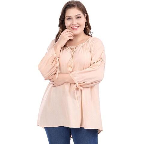 Allegra K Women Plus Size Raglan Sleeves Hollow Out Tie Neck Tunic Top