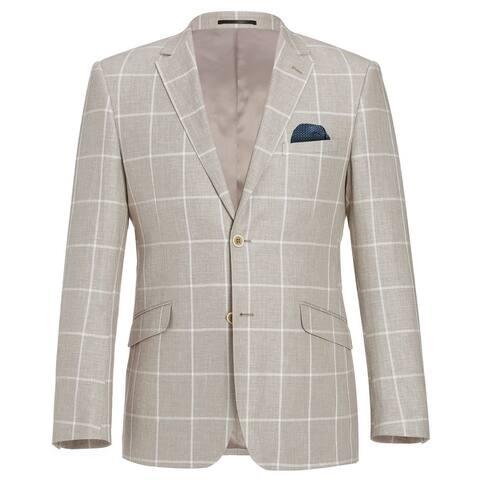 Men's 2 Buttons Classic Fit Blazer Cotton Linen Plaid Sport Coat