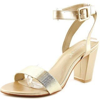 Allegra K Lavonne Women Open Toe Synthetic Gold Sandals
