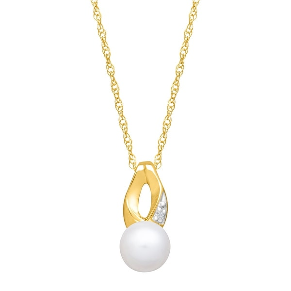 Freshwater Pearl Pendant with Diamond in 10K Yellow Gold