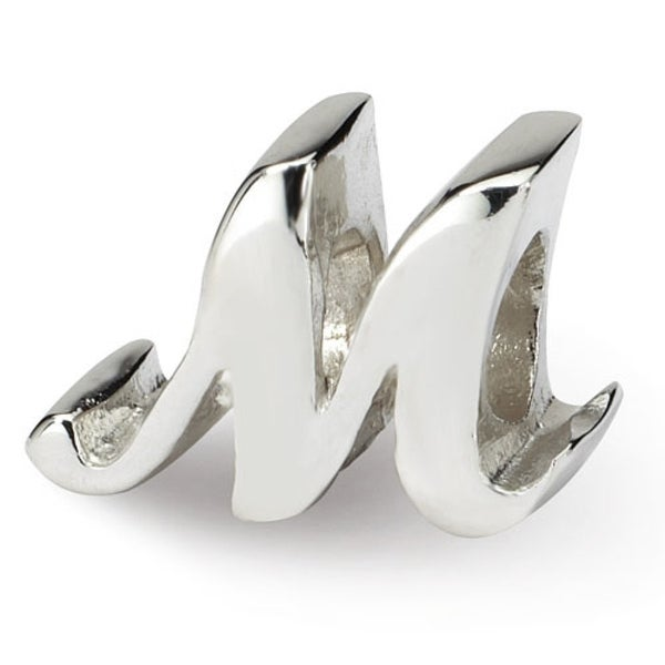 Sterling Silver Reflections Letter M Script Bead (4mm Diameter Hole)