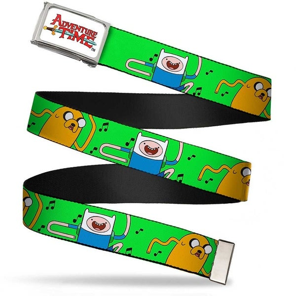 Adventure Time Logo Fcg White Chrome Finn & Jake W Music Notes Green Web Belt