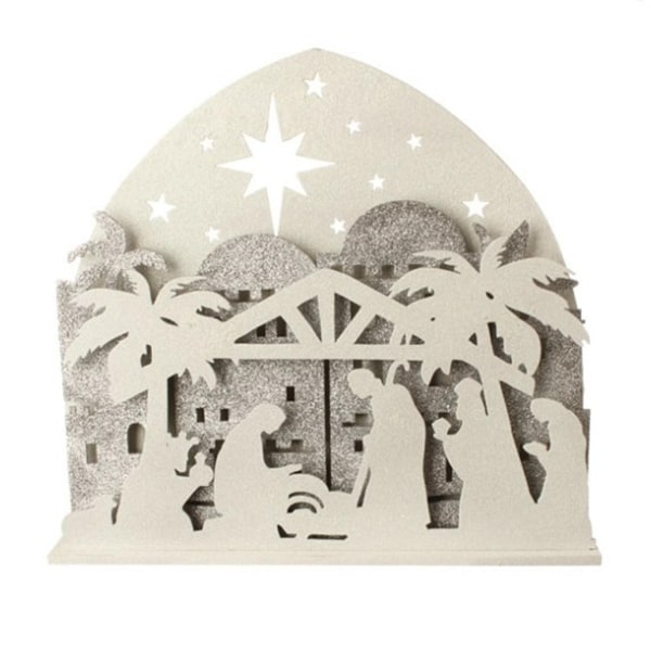 """19"""" Battery Operated Sparkling Ivory and Silver LED Lighted Nativity Silhouette Table Top Decoration"""