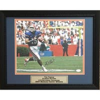 Tim Tebow Autographed Florida Gators Signed Football 11x14 Heisman Framed Football Photo JSA COA