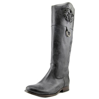 Frye Melissa Logo Women Round Toe Leather Black Knee High Boot
