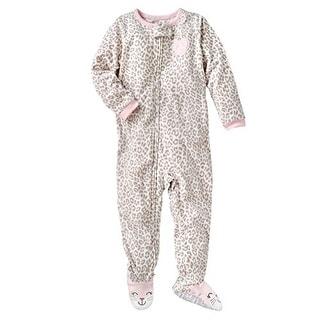 Carter's Little Girls' 1-piece Micro-fleece Pajamas -Pink Brown Leopard Heart 4T
