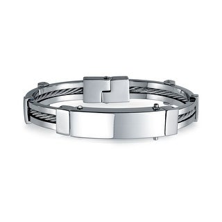 Bling Jewelry Mens 316 Stainless Steel Cable Enclosed ID Bracelet