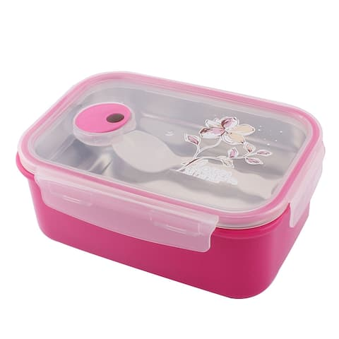 Travling Flower Pattern Heat Preservation Bento Food Lunch Box Container Fuchsia